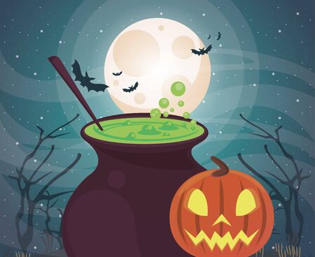 halloween dark scene with cauldron witch vector illustration design