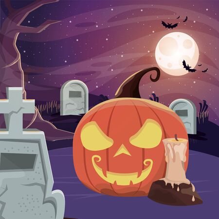 halloween dark scene with cemetery vector illustration design