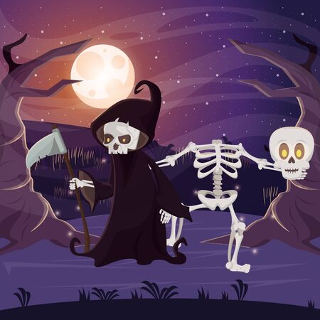 halloween dark scene with person disguised death vector illustration design