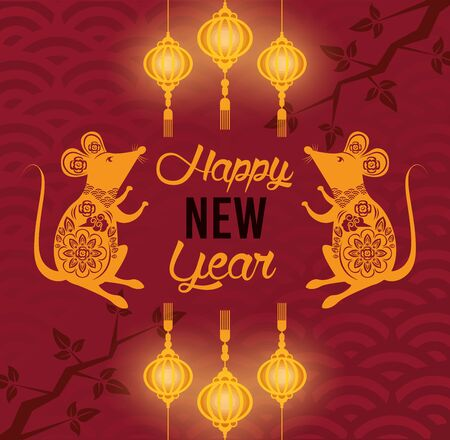 chinese new year rat poster with rats vector illustration design