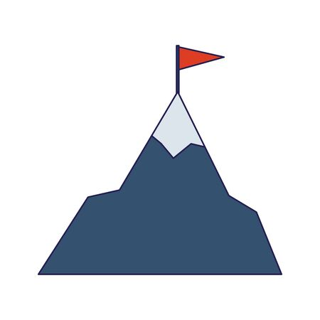 Snowy mountain with a flag on top icon over white background, vector illustration