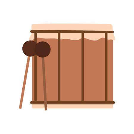drum and sticks icon over white background, vector illustration Illusztráció