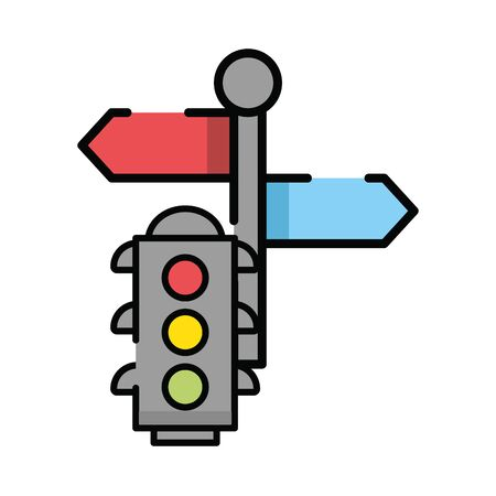 semaphore traffic light with arrow sign vector illustration design