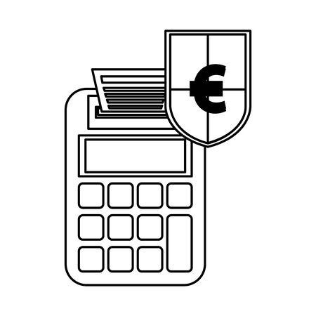 shield with euro symbol and calculator illustration design