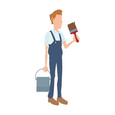 painter worker holding a paint bucket and brush icon over white background