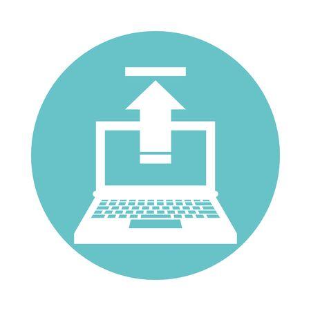 laptop computer portable with arrow upload vector illustration design