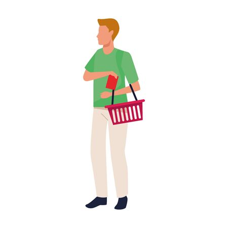 avatar woman with supermarket basket icon over white background, vector illustration