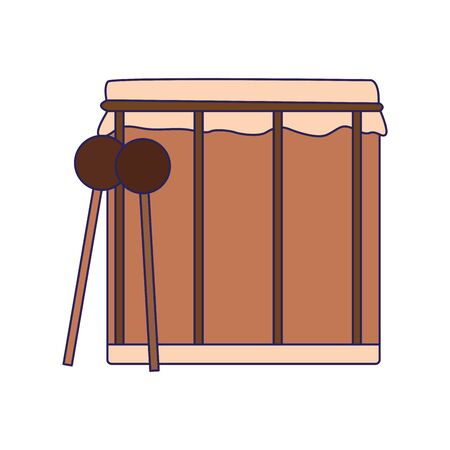 drum and sticks icon over white background, vector illustration