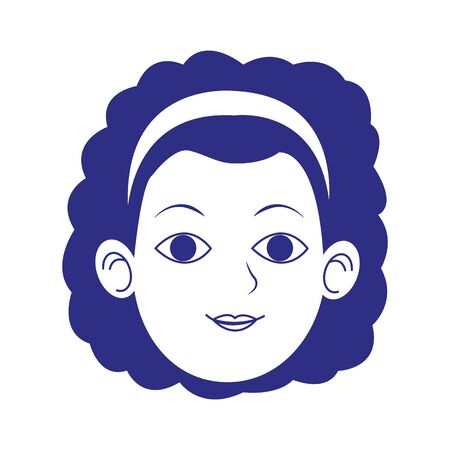 woman with curly hair icon over white background, vector illustration