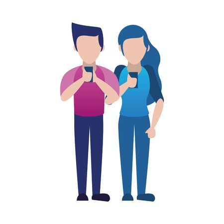 young couple using smartphone avatars characters vector illustration design