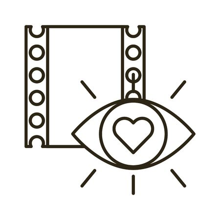 happy valentines day eye human with heart and tape film vector illustration design
