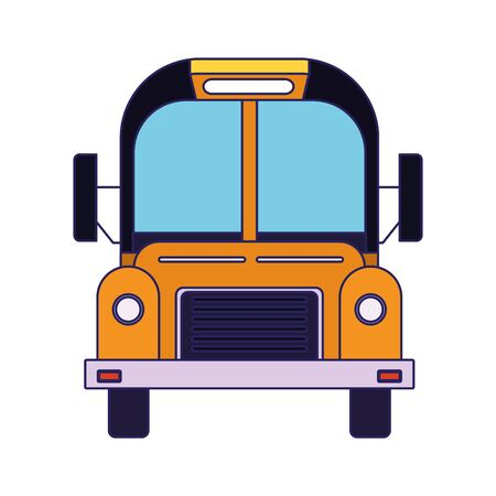 front view of school bus icon over white background, vector illustration