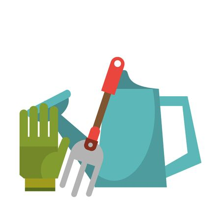 Gardening tools glove water can and rake vector illustration graphic design
