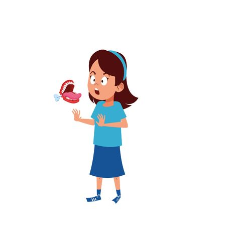 scared woman with teeth practical joke over white background, vector illustration Ilustración de vector