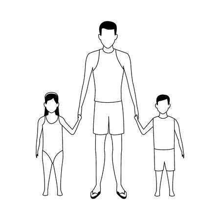 avatar man with his kids wearing swimsuits over white background, vector illustration Ilustração