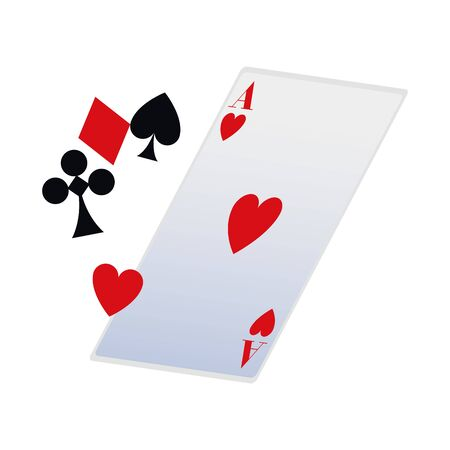 playing cards symbols and ace of heart card icon over white background, vector illustration 向量圖像