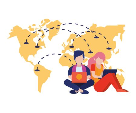 young couple using laptop with world map vector illustration design