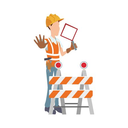construction worker and safety barrier icon over white background, vector illustration