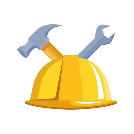 safety helmet and tools over white background, vector illustration