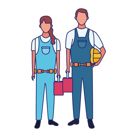 cartoon repair woman and man with tool boxes over white background, vector illustration