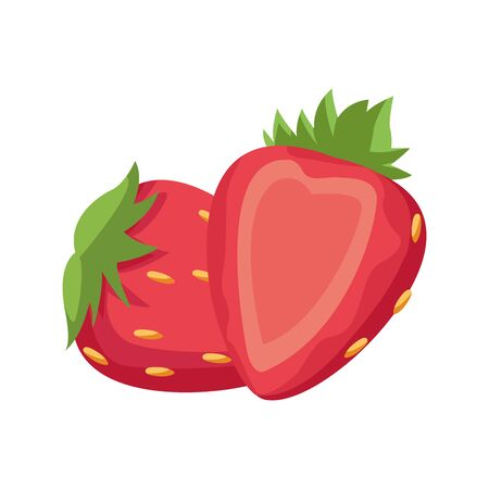 strawberry fruit icon over white background, vector illustration