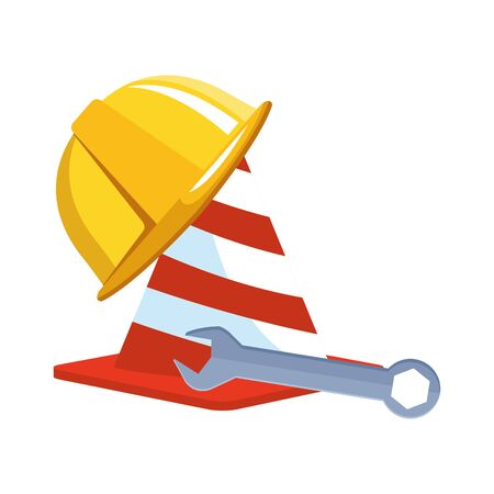traffic cone with safety helmet and wrench over white background, vector illustration Stock Illustratie