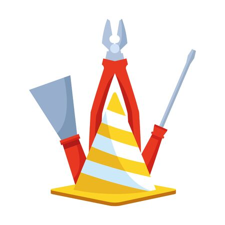 safety cone with pliers and tools over white background, vector illustration Illusztráció