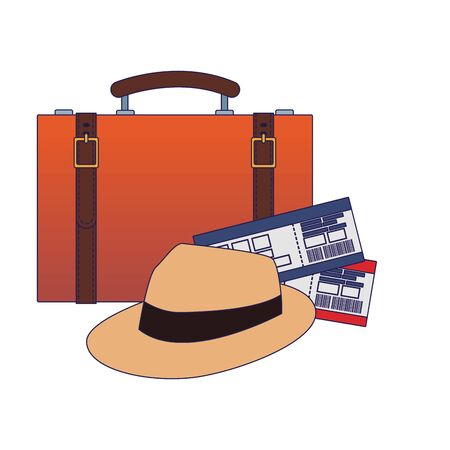 travel suitcase with hat and flight passboards over white background, vector illustration