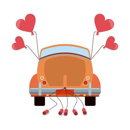 Wedding vintage car backward with cans vector illustration graphic design Ilustrace