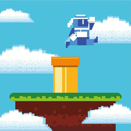 video game ninja warrior in pixelated scene vector illustration design Ilustração