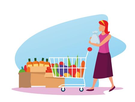 avatar woman with supermarket car with groceries, colorful design , vector illustration