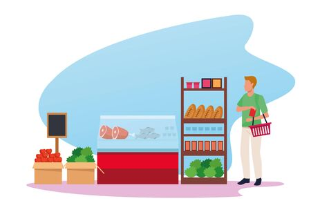 grocery stores with man shopping character vector illustration design