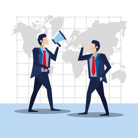 elegant businessmen workers with megaphone vector illustration design