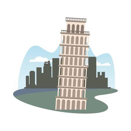pisa tower monument italian icon vector illustration design