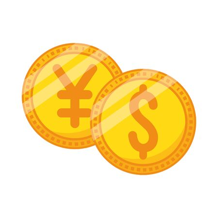 coins dollar and yen money icons vector illustration design