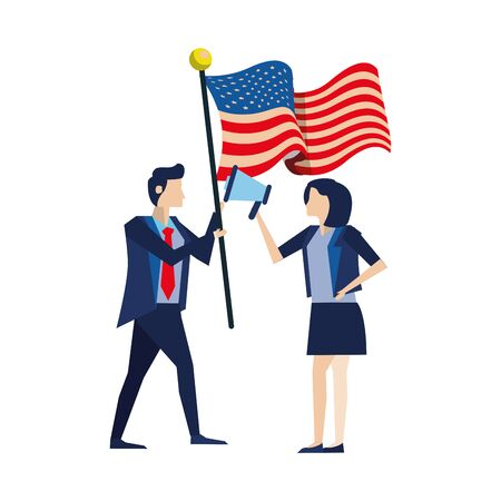 business couple with united states american flag and megaphone vector illustration design