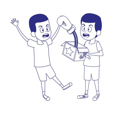 scared boy and boy with joke box icon over white background, vector illustration