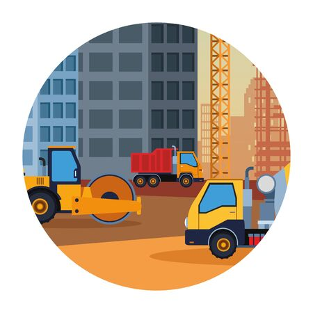 Construction truck steamroller and cement vehicle round icon scenery vector illustration graphic design Vectores