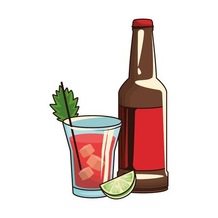 beer bottle and liquor shot over white background, vector illustration 矢量图像