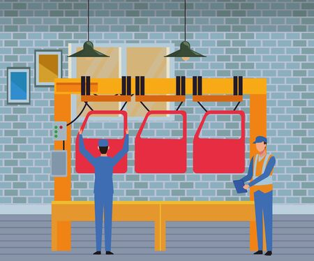 car service manufacturing workers assembling cartoon vector illustration graphic design Stock Illustratie