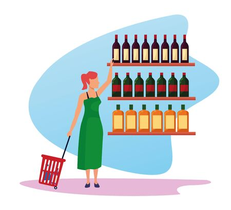 avatar woman at supermarket shelves with bottles over white background, colorful design , vector illustration