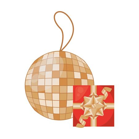 gift box present with mirror ball party vector illustration design
