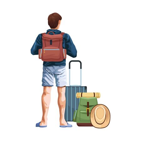man back with travel suitcase and backpack icon over white background, vector illustration