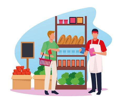 avatar supermarket worker helping a customer at supermarket aisle, colorful design , vector illustration