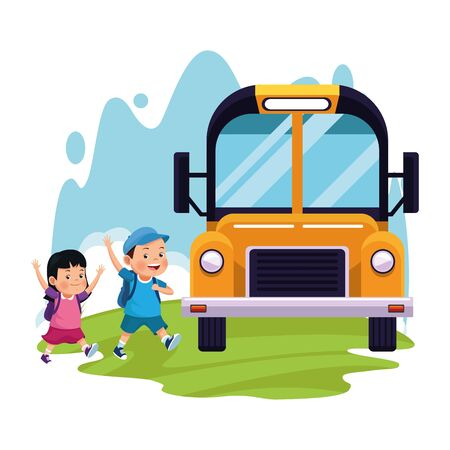 cartoon boy and girl and school bus over white background, colorful design , vector illustration