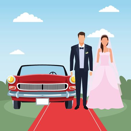 Avatar just married couple standing and red classic car over landscape background, colorful design, vector illustration