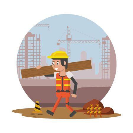 man builder working under construction scene vector illustration design Illustration