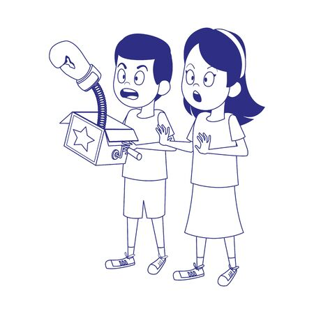 boy and girl with joke box icon over white background, vector illustration