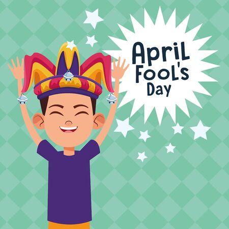 April fools day cute boy cartoon vector illustration graphic design Çizim
