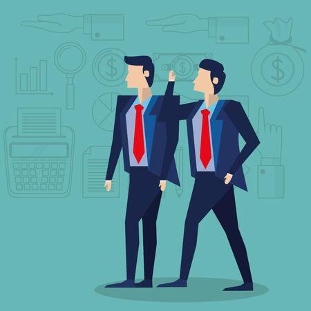 elegant businessmen workers avatars characters vector illustration design